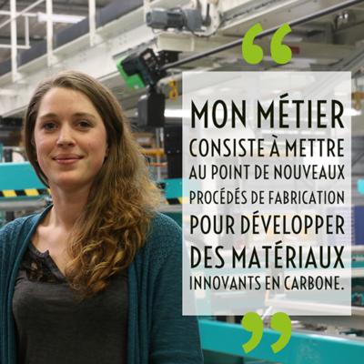 mon métier consiste à mettre au opint de nouveaux procédés de fabrication pour développer des matériaux innovants en carbone
